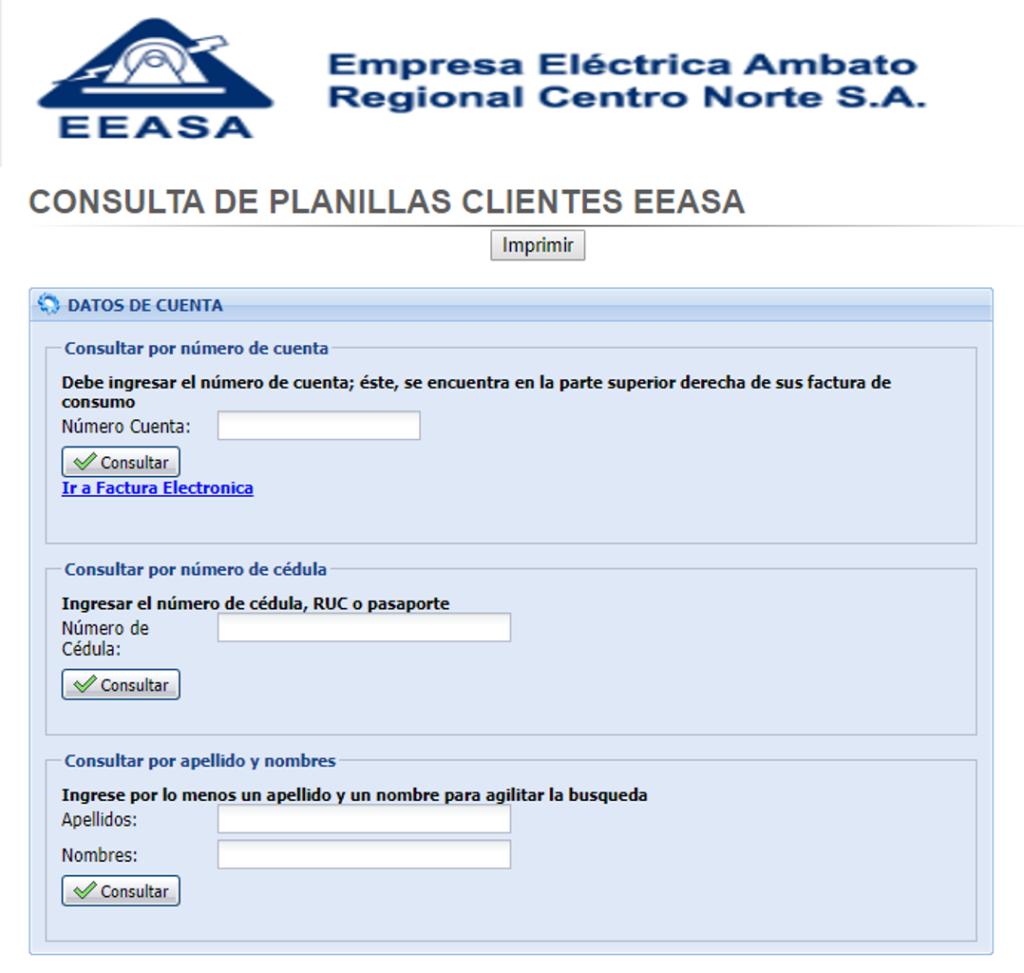 Re-imprimir planilla de luz Empresa Eléctrica Ambato EEASA