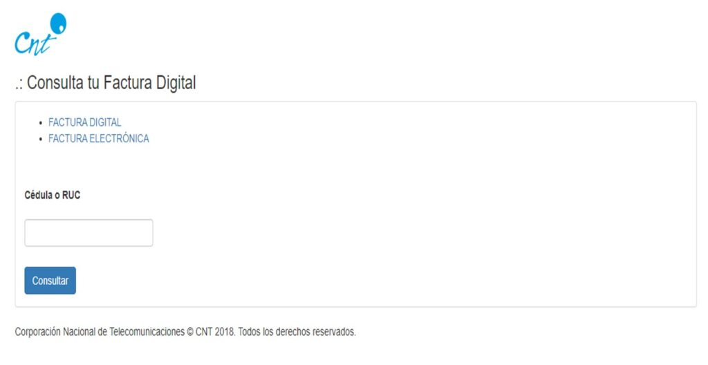 Imprimir duplicado de factura CNT por internet Ecuador