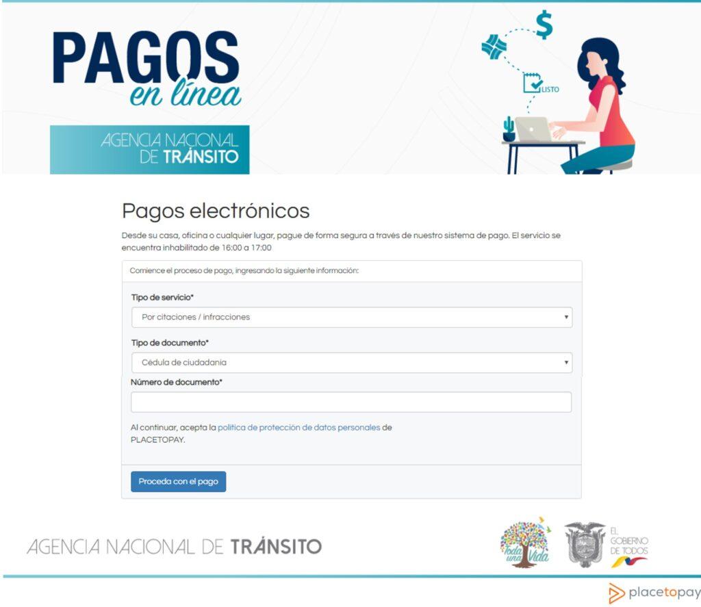Consultar pago de multas ANT en línea