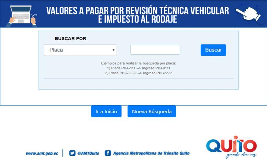 Consultar valores a pagar por revisión vehicular AMT
