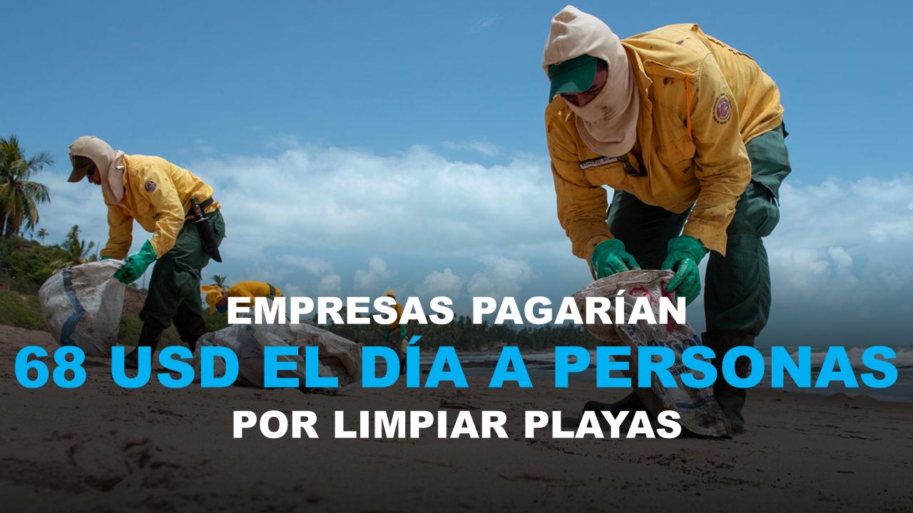 Empresas pagarían 68 USD el día a personas por limpiar playas