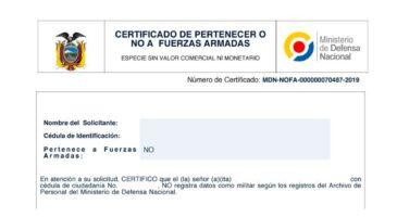 Certificado de NO haber sido dado de baja de las Fuerzas Armadas
