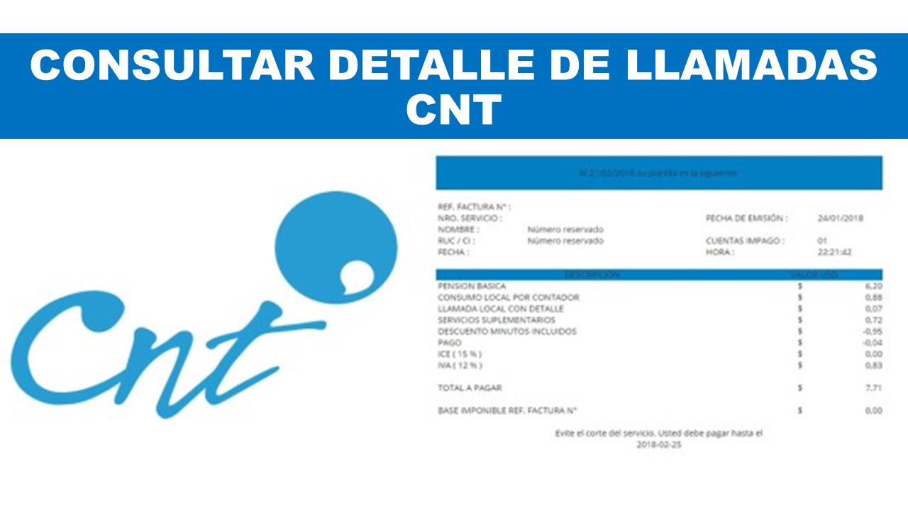 Consultar Detalle de Llamadas CNT