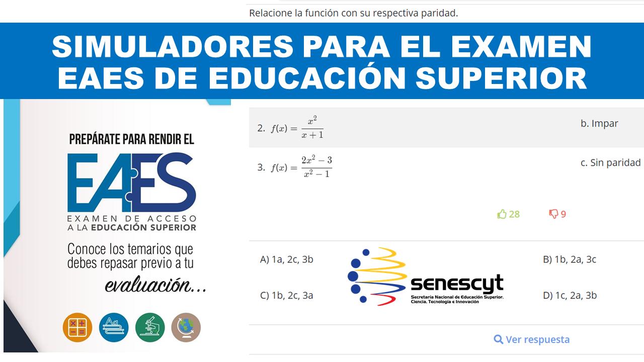 Simuladores para el Examen EAES de Acceso a la Educación Superior