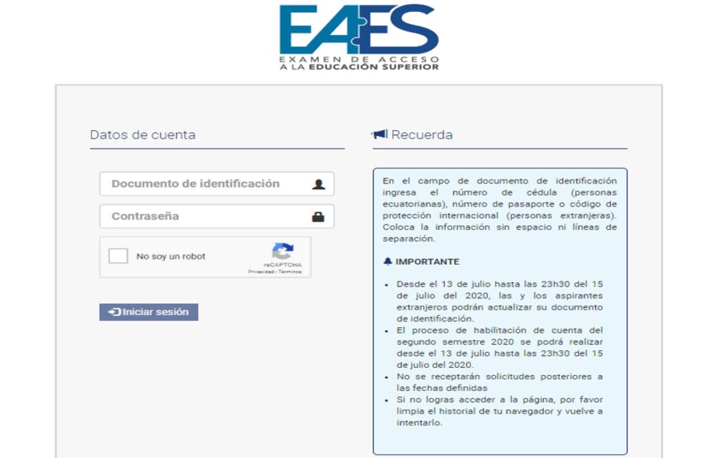 Inscripción para el examen de EAES