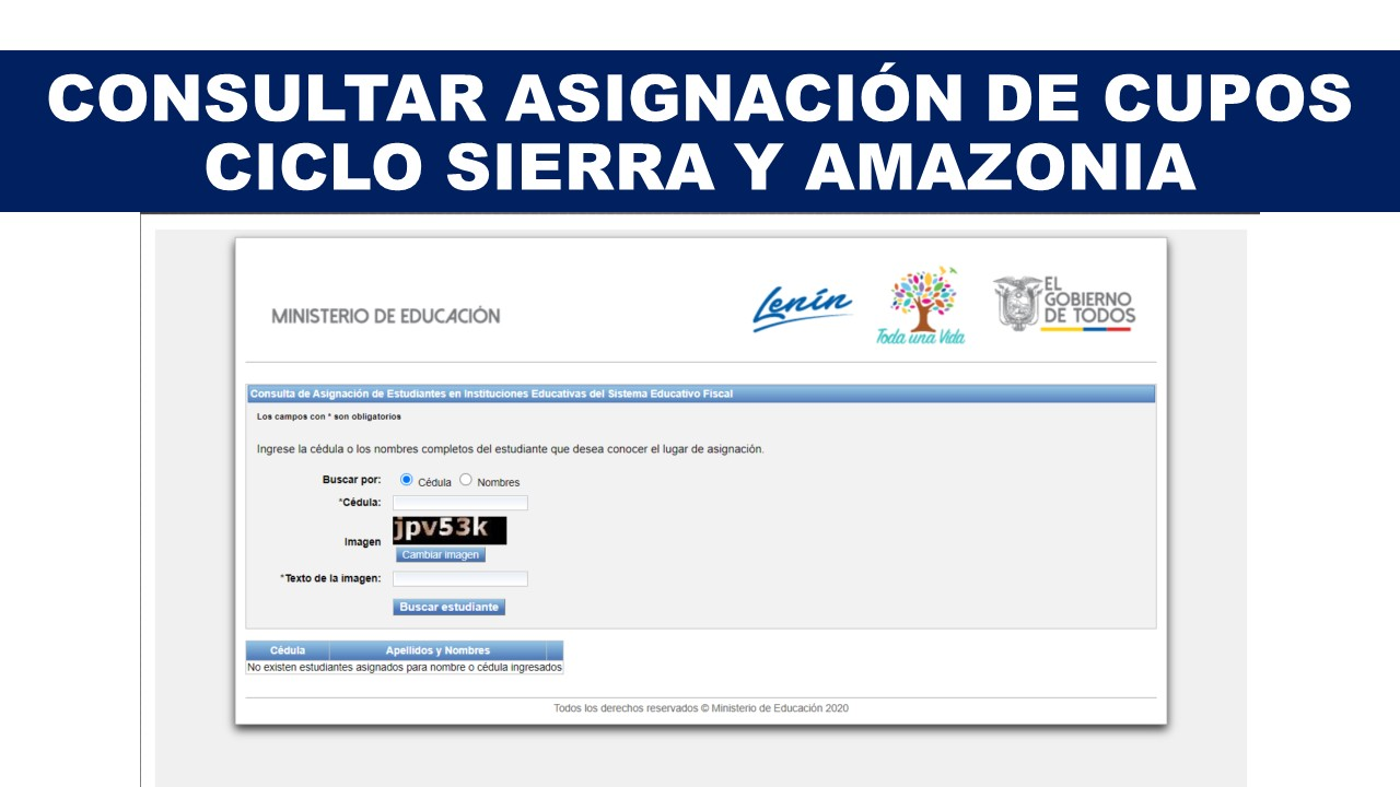 Consultar Asignación de Cupos ciclo Sierra y Amazonia