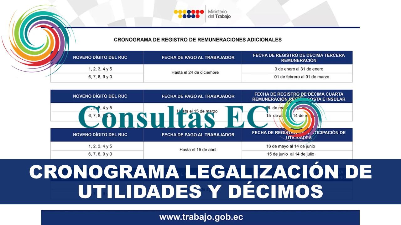Cronograma Legalización de Utilidades y Décimos