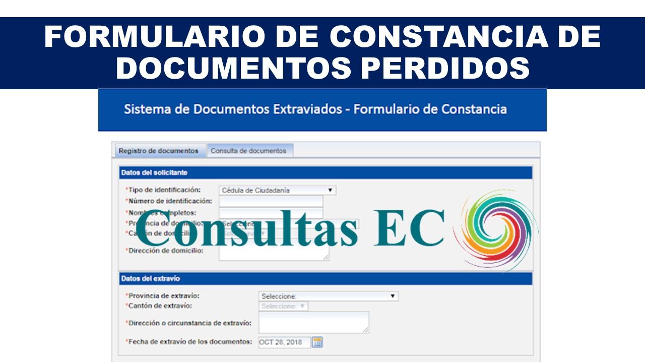Formulario de Constancia de Documentos Perdidos