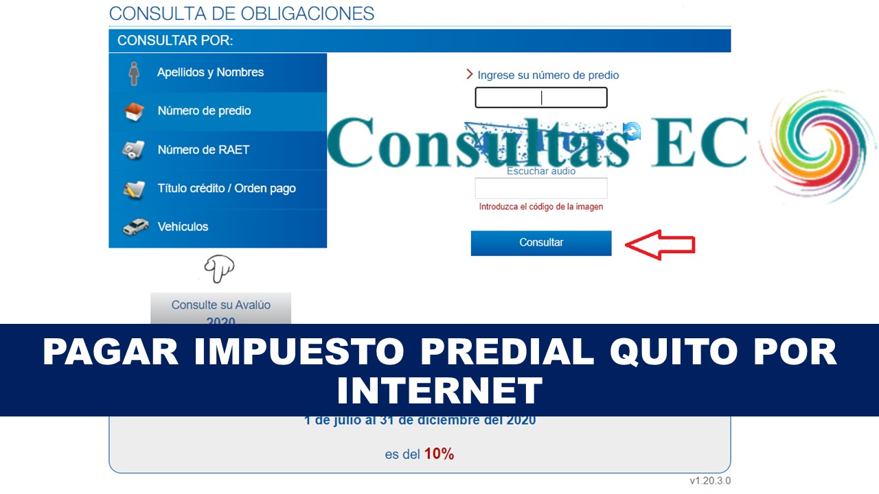 Pagar Impuesto Predial Quito por internet