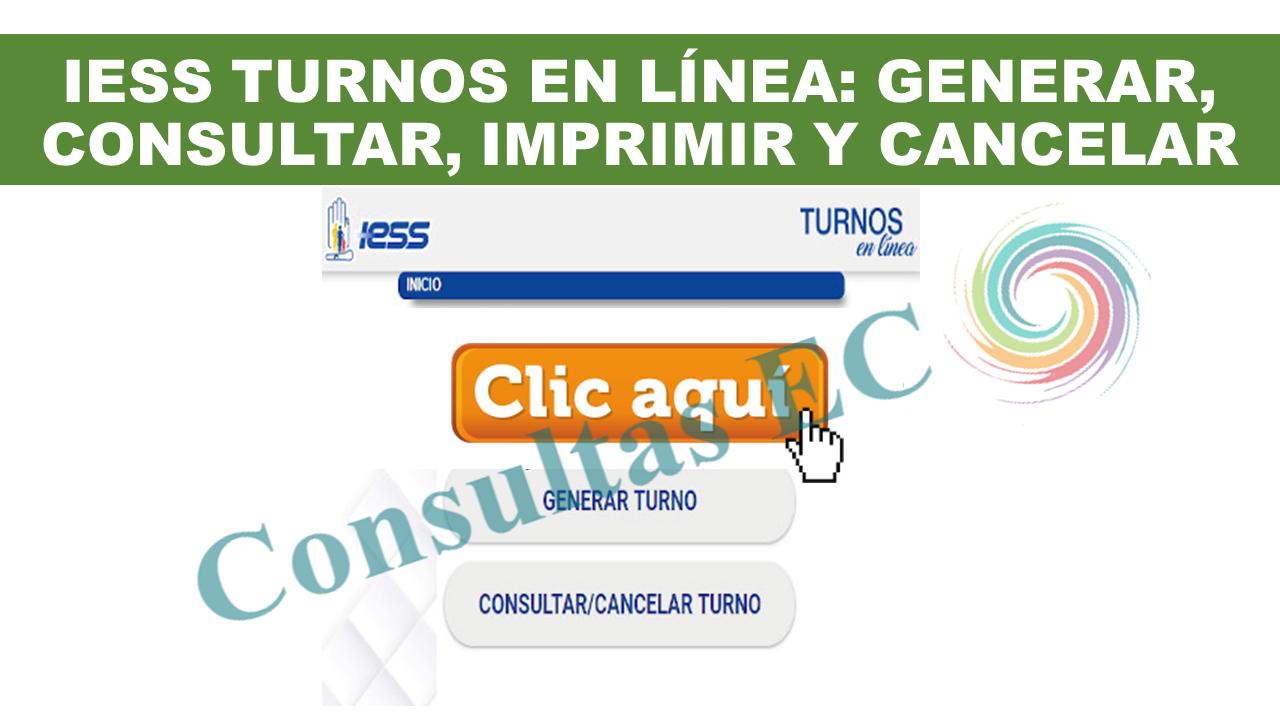 IESS Turnos en línea: Generar, consultar, imprimir y cancelar