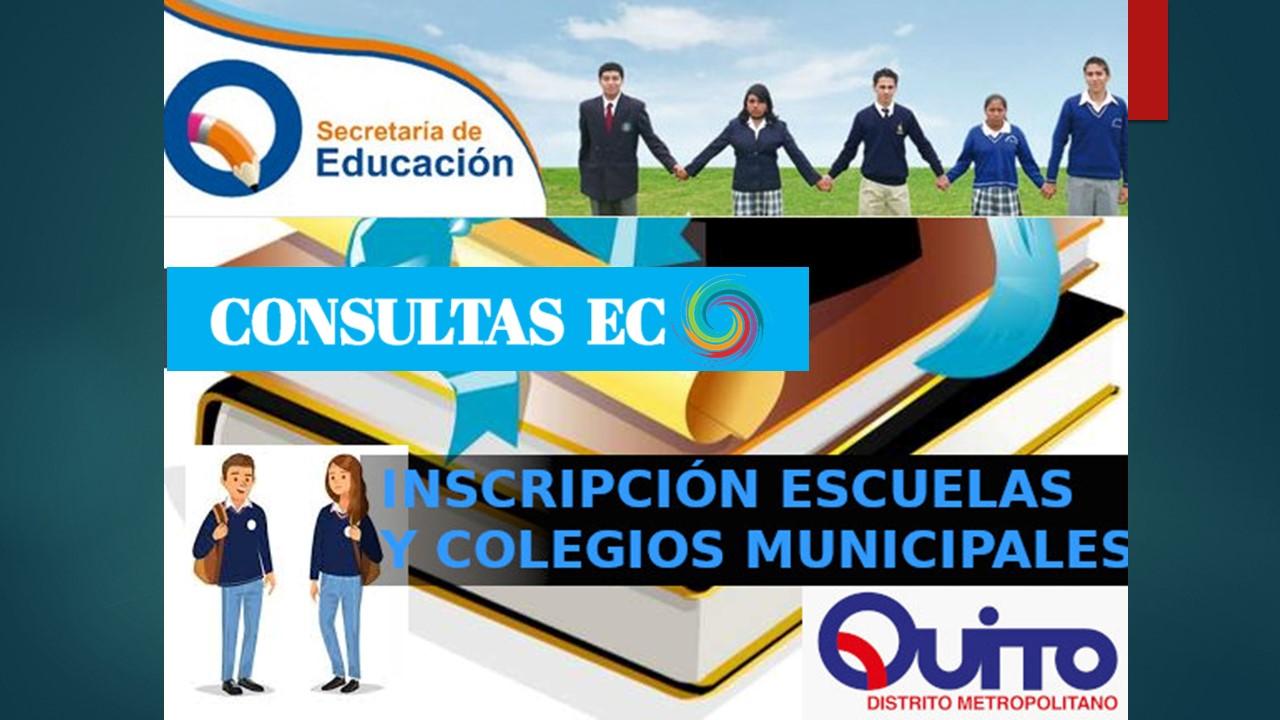 Quito Inscripciones en escuelas y colegios Municipales en línea gratis